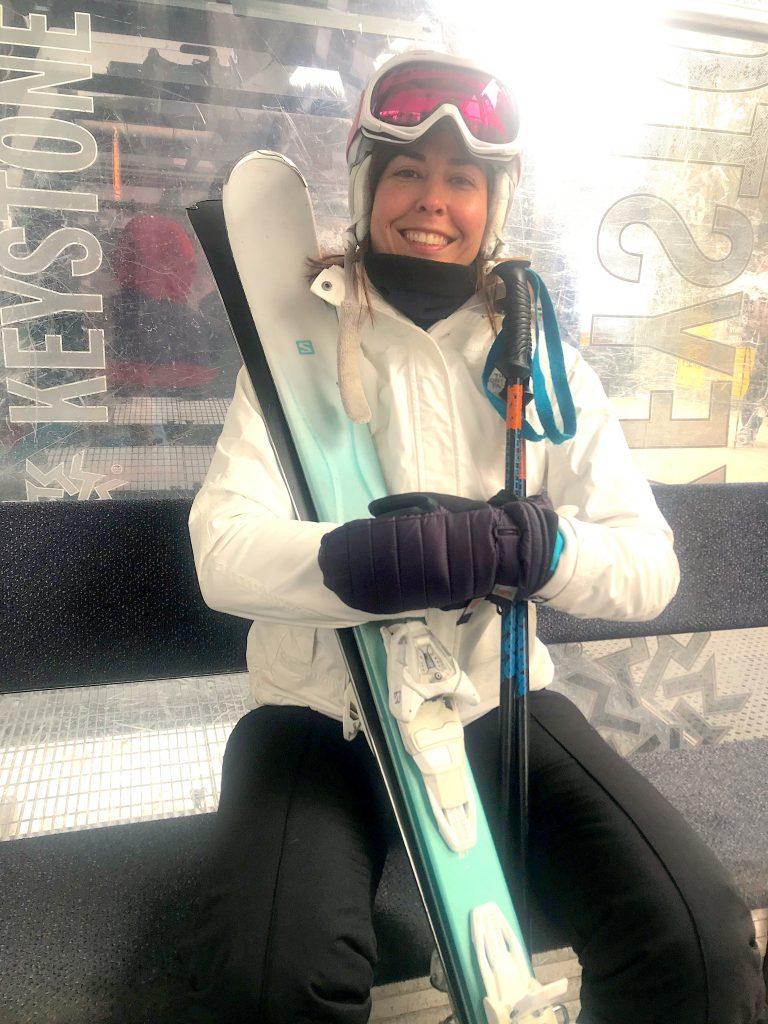 Gina skiing.