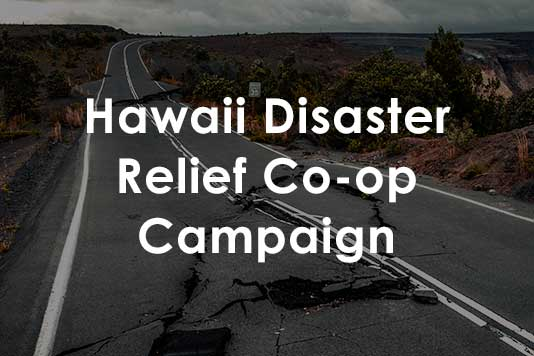 co-op advertising for disaster relief in Hawaii